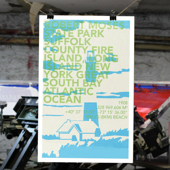 Robert Moses State Park Print - Bold Version Design - New York Makers