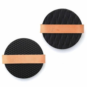 Coaster Set in Textured Black Leather