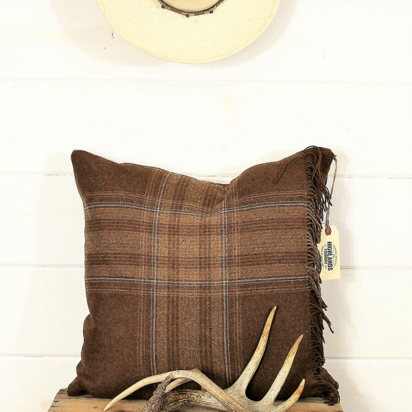 Plaid Fringe Pillow Cover in Multiple Colors