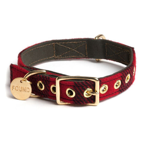 Wool & Canvas Collar for Dogs in Buffalo Plaid