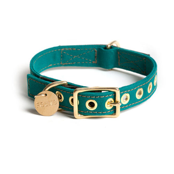 Waxed Canvas Collar for Dogs in Scout Green