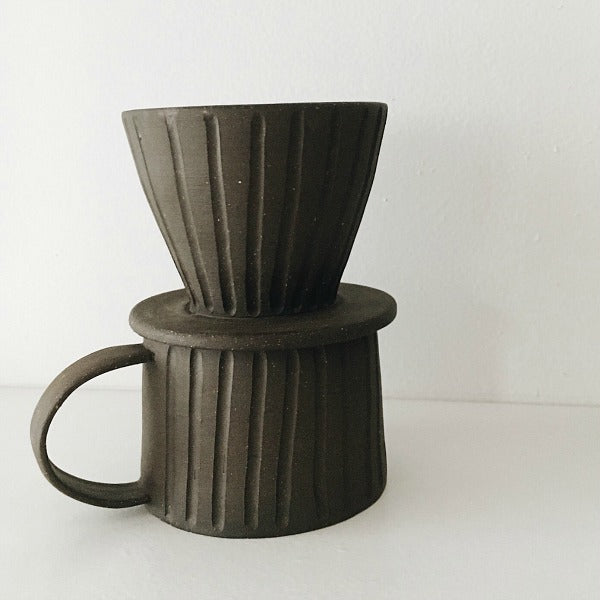 Dark Brown Mug and Pour Over