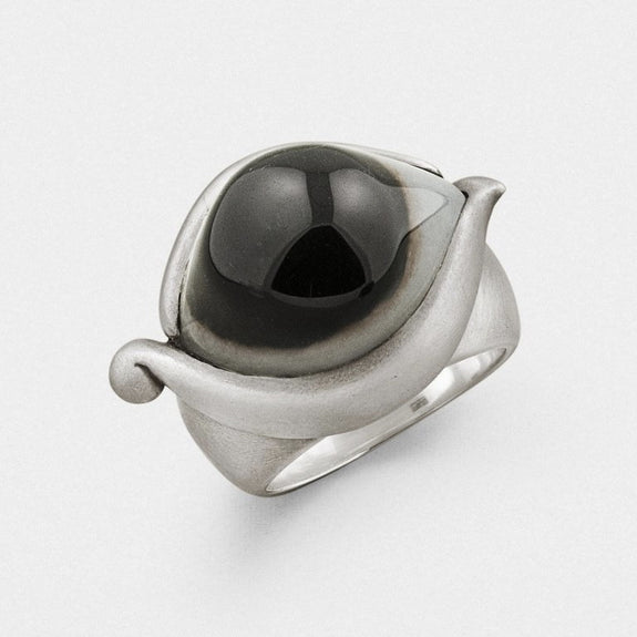 Indian Agate Eye Ring - Snake Bones - New York Makers