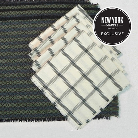 "Wool Placemat & Cotton Napkin Set in ""Figured Venetian""/""Windowpane Check"""