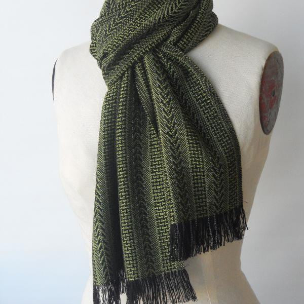 Bamboo Scarf in Black & Olive