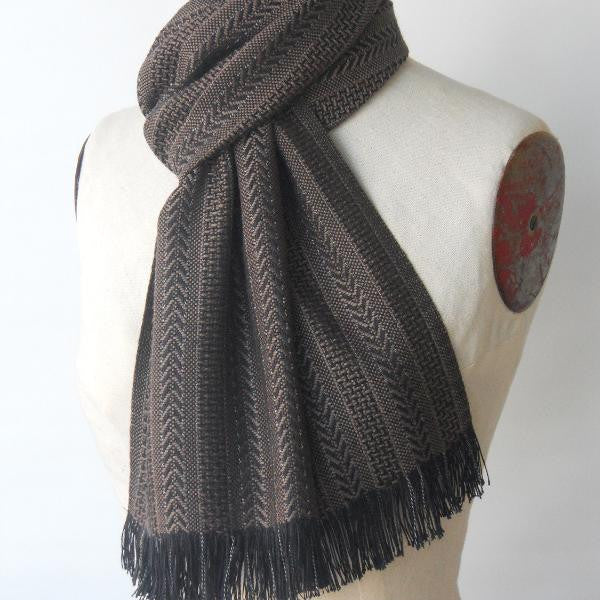 Bamboo Scarf in Black & Loam
