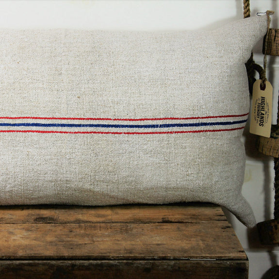 European Stripe Grain Sack Pillow Cover - The Highlands Foundry - New York Makers
