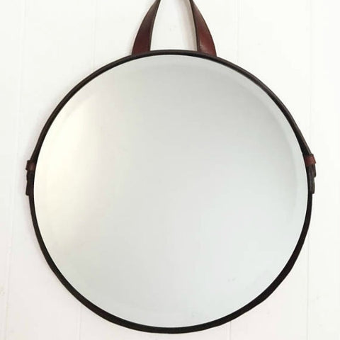 Leather Handle Circle Mirror 14""