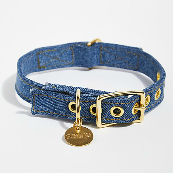 Happy Camper Denim Dog Collar