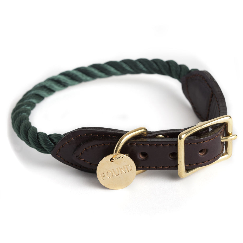 found my animal new york makers brooklyn made rope collar for dog and cat in hunter green