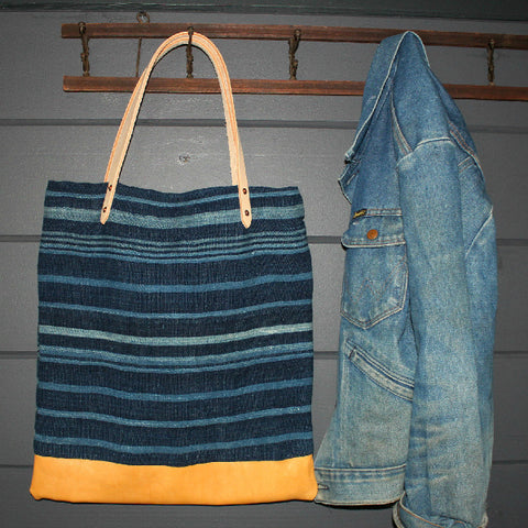 Indigo Mud Cloth & Deerskin Tote
