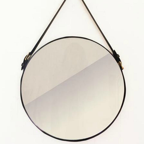 Leather Circle Mirror 16""