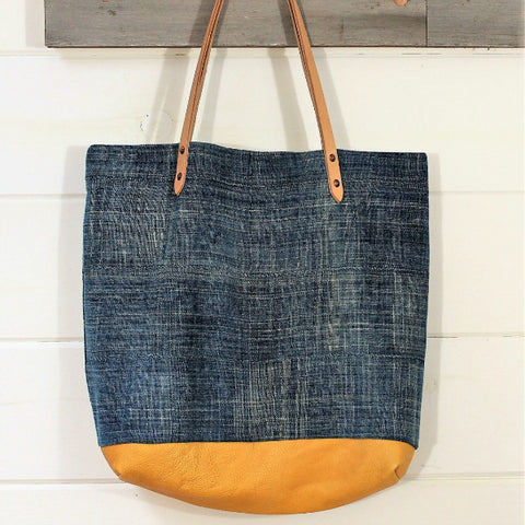 Solid Indigo Mud Cloth & Deerskin Tote