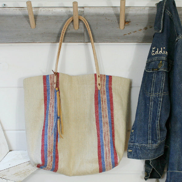 European Stripe Grain Sack Tote