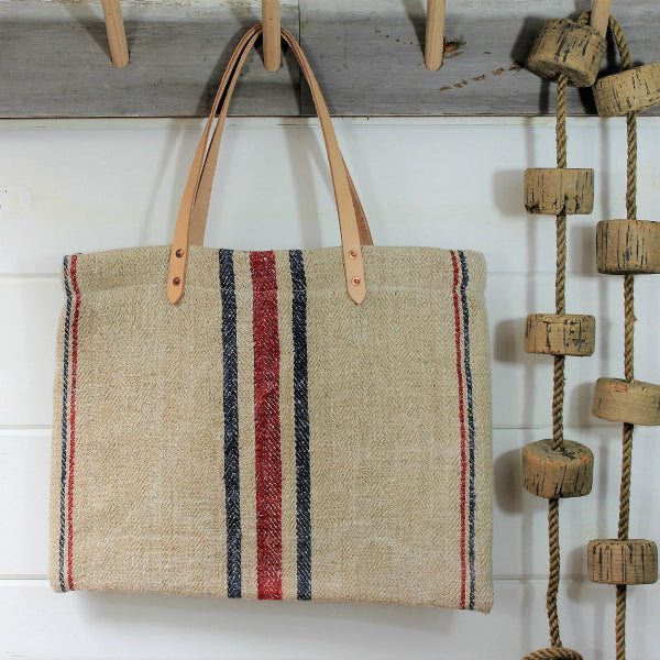 Stripe Grain Sack Tote - The Highlands Foundry - New York Makers
