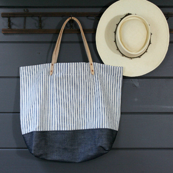 Ticking/Denim Tote