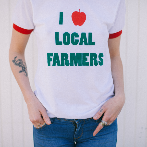 """I Love Local Farmers"" Unisex Ringer Tee - Natalie Washuta - New York Makers"