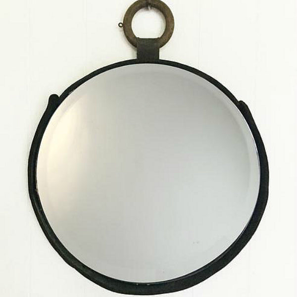 Leather Wood Ring Mirror 16""