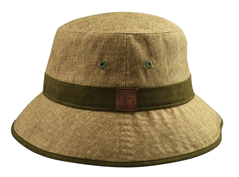 a58a7b426 Hemp Bucket Hat (Tan with Green Suede details)