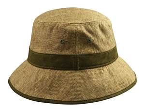 Hemp Bucket Hat (Tan with Green Suede details), Hats - Flight Inspired