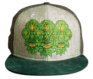 Third Eye Leaf Man Hat (Tweed / Hemp / Suede) (Fitted), Hats - Flight Inspired