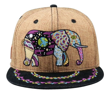 Cosmic Elephant Hat (Hemp) (Brown / Black), Hats - Flight Inspired