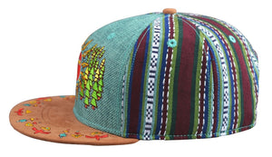 Spirit Guide Hat (Strapback) (Teal Hemp / Fabric / Suede), Hats - Flight Inspired