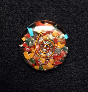 "1.5"" Mixed Stone Pocket Round Orgonite, Gemstones - Flight Inspired"