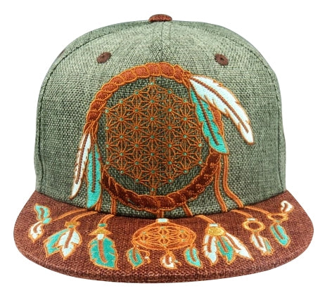Sacred Geometry Dreamcatcher (Hemp) (Green & Chocolate) (Asanoha), Hats - Flight Inspired
