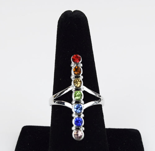 Silver Plated Chakra Ring, Gemstones - Flight Inspired