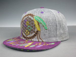 Sacred Geometry Dreamcatcher (Hemp) (Purple & Teal), Hats - Flight Inspired