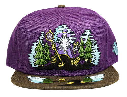 Enchanted Crystal Wizard (Hemp) (Purple & Dark Brown), Hats - Flight Inspired