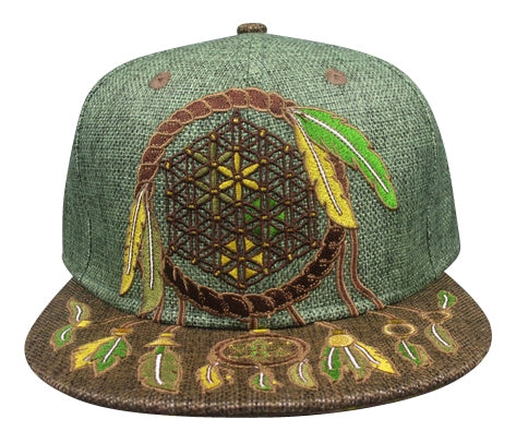 Sacred Geometry Dreamcatcher (Hemp) (Earthtones), Hats - Flight Inspired