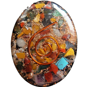 "1.5"" Mixed Stone Pocket Oval Orgonite, Gemstones - Flight Inspired"