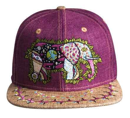 Cosmic Elephant Hat (Hemp) (Deep Purple), Hats - Flight Inspired