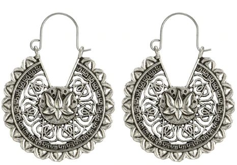 Lotus Mandala Earrings (Silver)