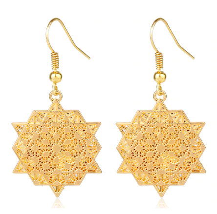 Tetrahedron Earrings (Gold)
