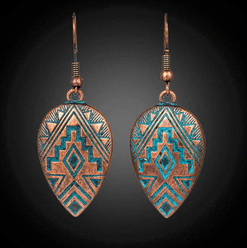Drop Aztec Earrings (Copper)