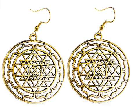Sri Yantra Earrings (Gold)