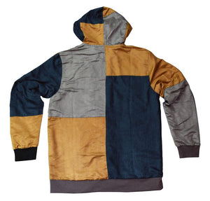 Geometric Patchwork Suede Zip-Up Hoodie - L, XL, 2XL, Hoodies - Flight Inspired