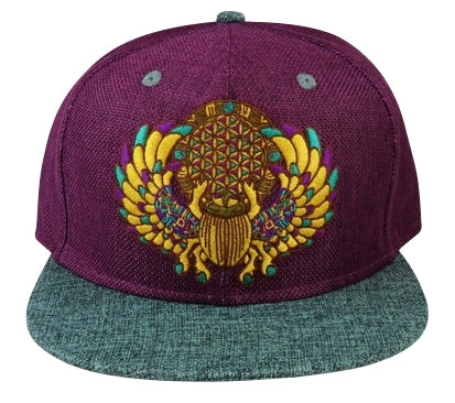 Sacred Geometry Scarab (Hemp) (Purple & Teal), Hats - Flight Inspired