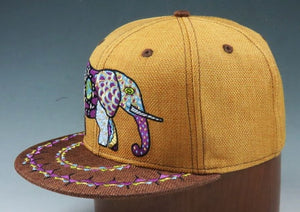 Cosmic Elephant Hat (Hemp) (Gold / Brown), Hats - Flight Inspired