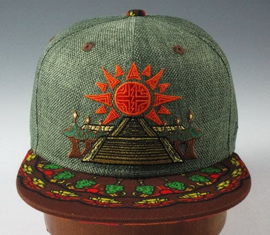 Geometric Temple In Bloom Hat (Hemp) (Green & Brown), Hats - Flight Inspired