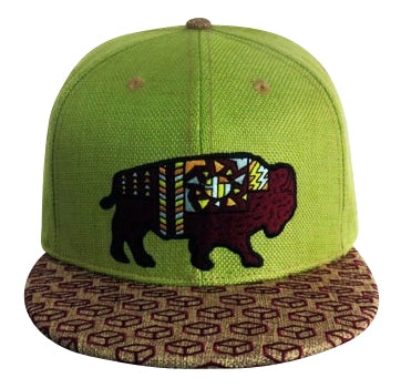 Sacred Bison (Hemp) (Green & Tan), Hats - Flight Inspired
