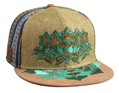 Flower of Life Lotus Hat (Strapback) (Tan Hemp / Fabric / Suede), Hats - Flight Inspired