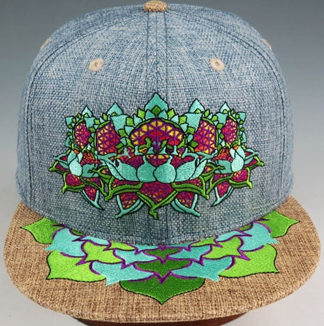 Flower of Life Lotus (Hemp) (Denim Blue), Hats - Flight Inspired