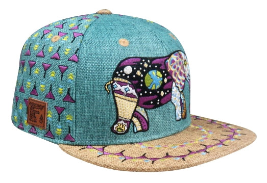 Cosmic Elephant Hat (Hemp) (Teal) (Wildstyle Edition), Hats - Flight Inspired