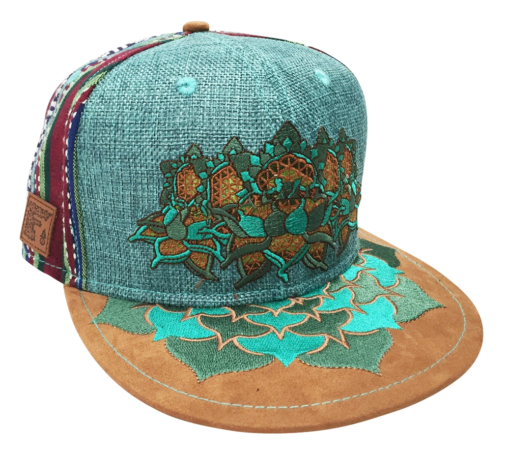 Flower Of Life Lotus Hat Strapback Teal Hemp Fabric Suede