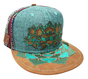 Flower of Life Lotus Hat (Strapback) (Teal Hemp / Fabric / Suede), Hats - Flight Inspired
