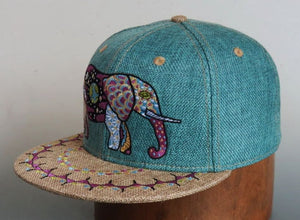 Cosmic Elephant Hat (Hemp) (Teal), Hats - Flight Inspired